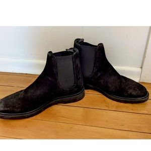 Zara Black Suede Pull On Flat Ankle Chelsea Boots